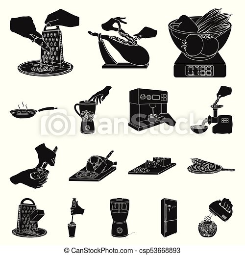 Cooking food black icons in set collection for design. Kitchen, equipment and tools vector symbol stock web illustration. - csp53668893