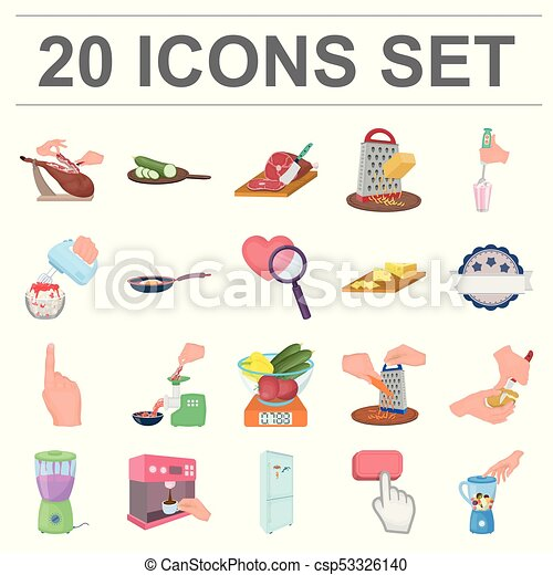 Cooking food cartoon icons in set collection for design. Kitchen, equipment and tools vector symbol stock web illustration. - csp53326140