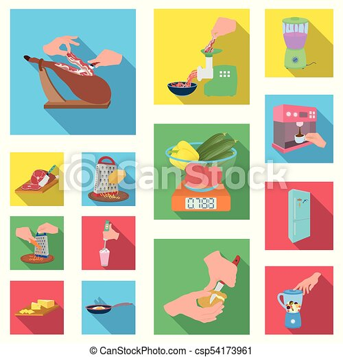Cooking food flat icons in set collection for design. Kitchen, equipment and tools vector symbol stock web illustration. - csp54173961
