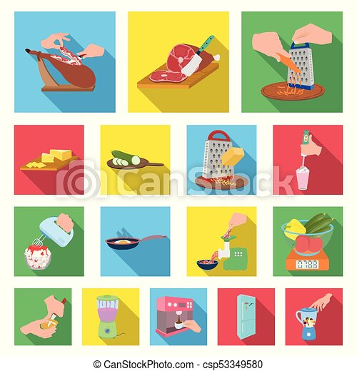 Cooking food flat icons in set collection for design. Kitchen, equipment and tools vector symbol stock web illustration. - csp53349580