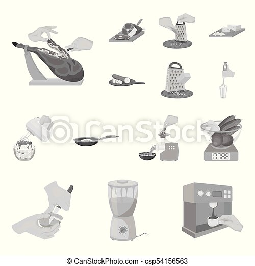 Cooking food monochrome icons in set collection for design. Kitchen, equipment and tools vector symbol stock web illustration. - csp54156563