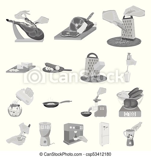 Cooking food monochrome icons in set collection for design. Kitchen, equipment and tools vector symbol stock web illustration. - csp53412180