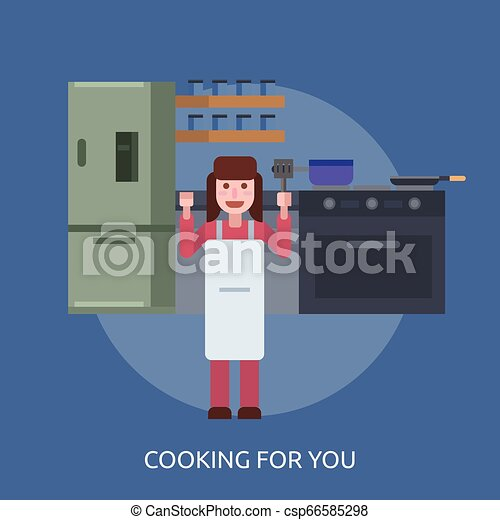 Cooking For You Conceptual illustration Design - csp66585298