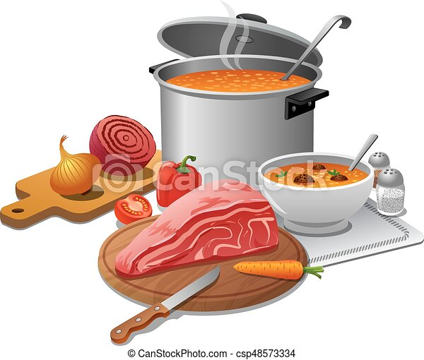 Illustration Of Cooking Hot Soup With Ingredients Meat And