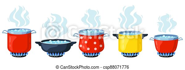 Cooking kitchen pots. Cartoon boiling saucepan, cooking soup boiling on gas stove. Boiling steamed water vector illustration set - csp88071776
