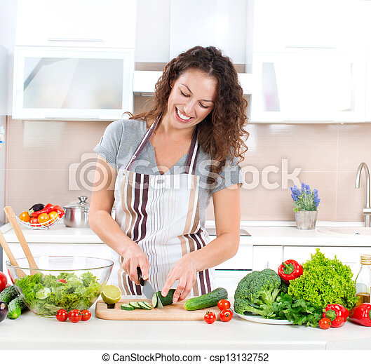 cooking., kobieta, sałata, zdrowy, -, młody, jadło, roślina - csp13132752