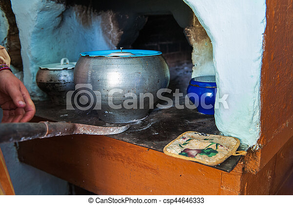 cooking meals in a Russian stove - csp44646333