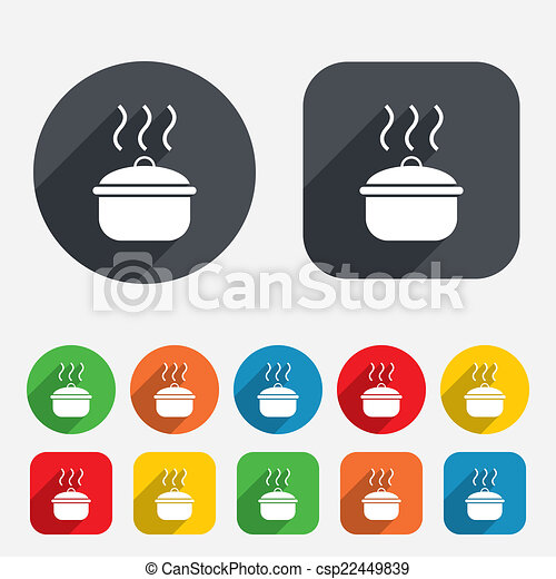 Cooking pan sign icon. Boil or stew food symbol. - csp22449839