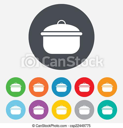 Cooking pan sign icon. Boil or stew food symbol. - csp22449775