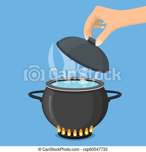 Cooking pot on stove with water and steam. - csp60547733