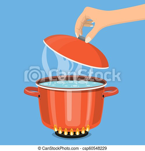Cooking pot on stove with water and steam. - csp60548229