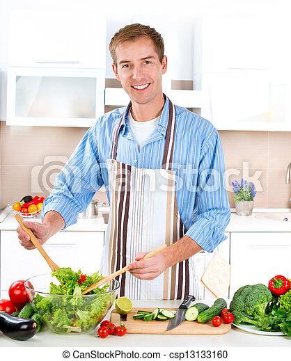 cooking., sałata, zdrowy, -, młody, jadło, roślina, człowiek - csp13133160