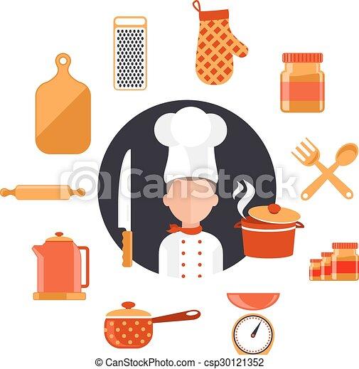 Cooking serve meals and food preparation. Flat design ...