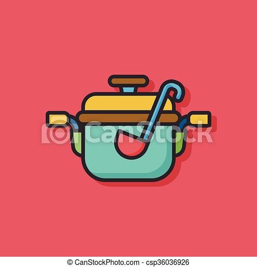 cooking soup pot icon - csp36036926
