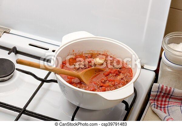 Cooking the Bolognese Sauce - csp39791483