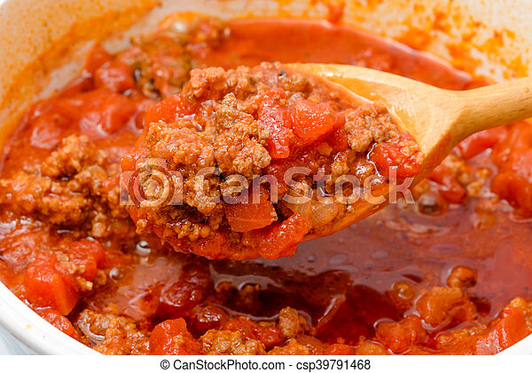Cooking the Bolognese Sauce - csp39791468
