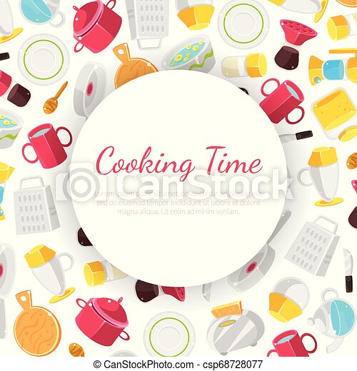 Cooking Time Banner Template With Place For Text Vector Illustration On White Background