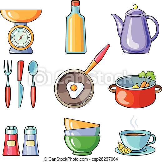 Set of kitchen utensil and collection of cookware icons for Art cuisine cookware