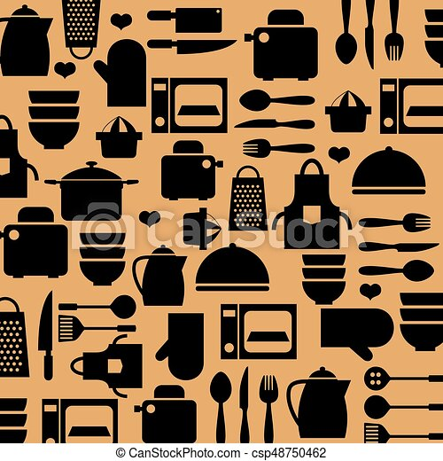 Cooking Tools And Utensil Background Vector Illustration - csp48750462