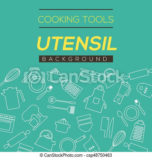 Cooking Tools And Utensil Background Vector Illustration - csp48750463