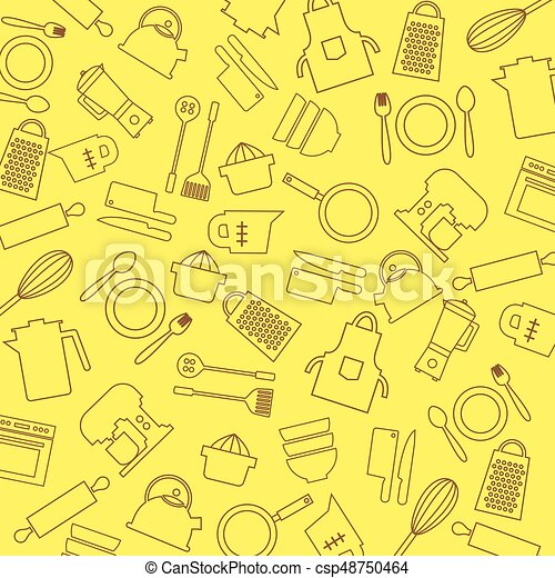 Cooking Tools And Utensil Background Vector Illustration - csp48750464