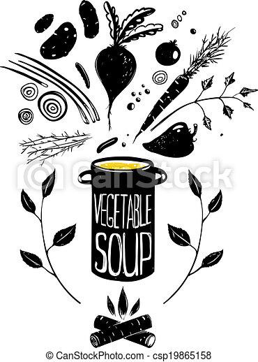 Cooking Vegetable Soup Food in Black - csp19865158
