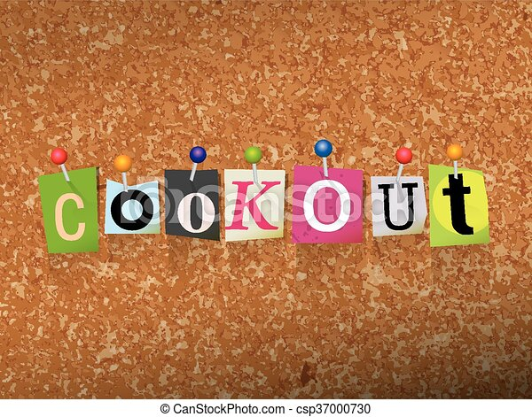 Cookout Concept Pinned Letters Illustration - csp37000730