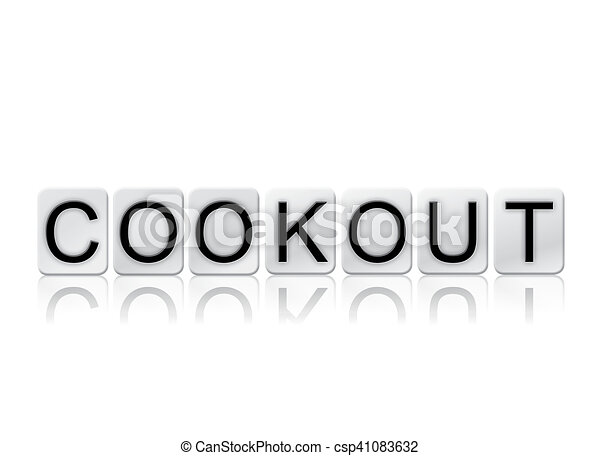 Cookout Isolated Tiled Letters Concept and Theme - csp41083632