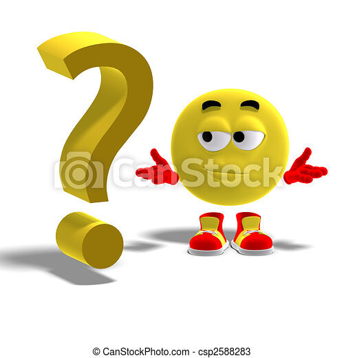 cool and funny emoticon has a question mark - csp2588283