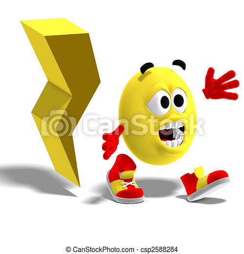 cool and funny emoticon is running away from a lightning flash - csp2588284