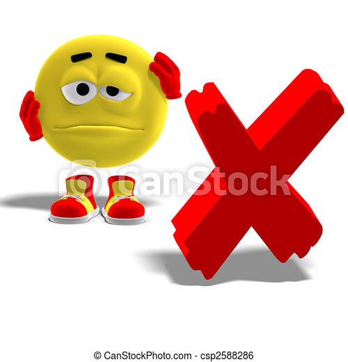 cool and funny emoticon say oh no to a x-mark - csp2588286