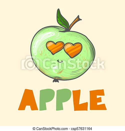 bf0c38340ecbd Cool Cartoon Fashion Apple With Sunglasses And Leaves And Word Apple Vector  Illustration