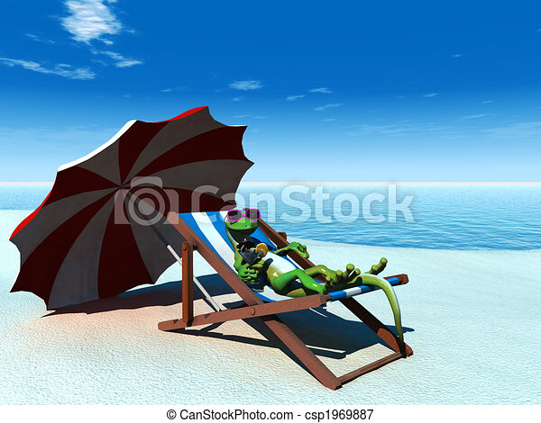 Cool cartoon gecko relaxing on the beach. - csp1969887