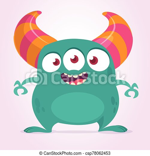Cool cartoon monster with three eyes. Vector blue monster illustration. Halloween design - csp78062453