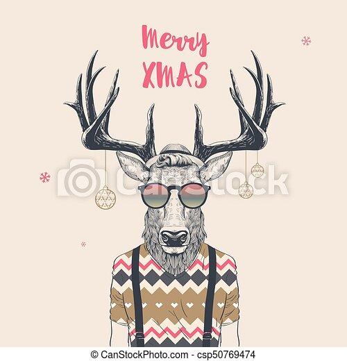 Cool christmas deer christmas card with cool hipster deer merry cool christmas deer csp50769474 m4hsunfo