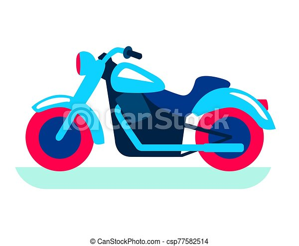 cool classic motorcycle. color flat illustration on white - csp77582514