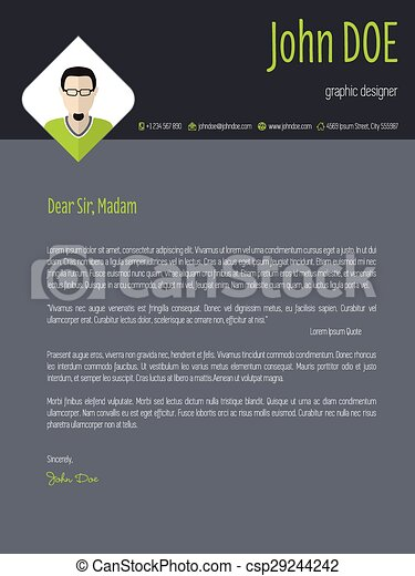 Cool cover letter resume template with business suit... vector ...