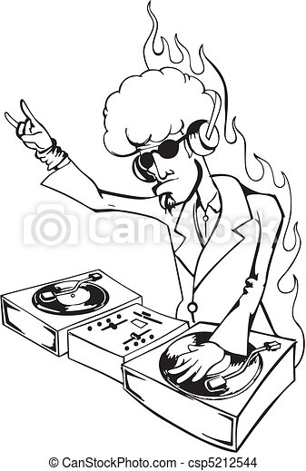 Cool Dj Twisting Records Black And White Vector Eps Illustration Of