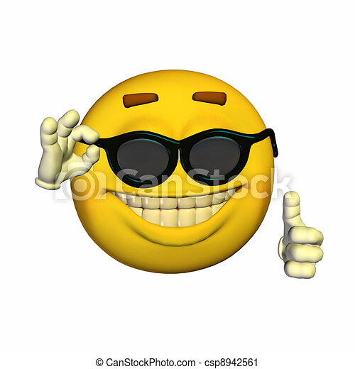 cool emoticon illustration of a cool emoticon isolated on a white rh canstockphoto com cool clipart guy cool clipart black and white
