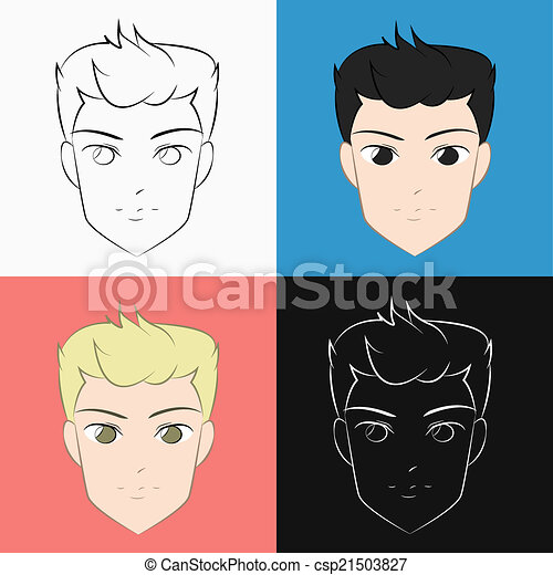 Cool Handsome Male Face Cartoon Illustration Showing A Man Face