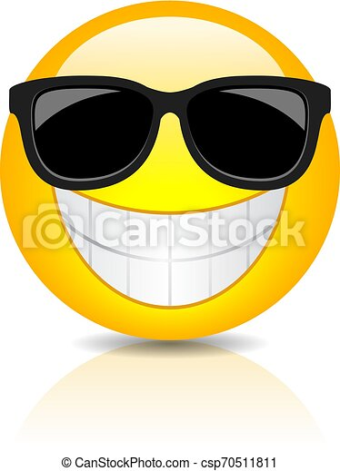 Cool Happy Emoji With Sunglasses On White Background Canstock