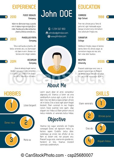 Cool modern resume curriculum vitae design with contrast... vector ...