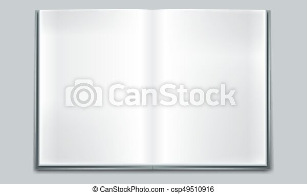 Cool Open book with white pages. Illustration on white background - csp49510916