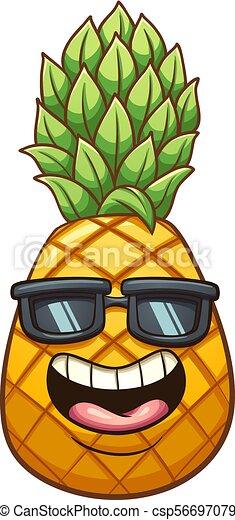 Cool pineapple. Happy cartoon pineapple. vector clip art ...