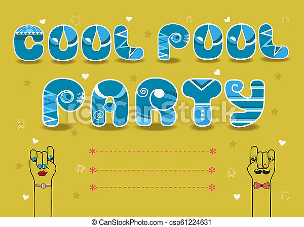 pool party invitation cards