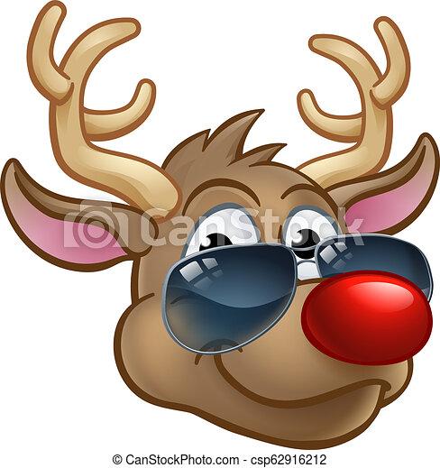 Cool Reindeer Christmas Cartoon Character Shades