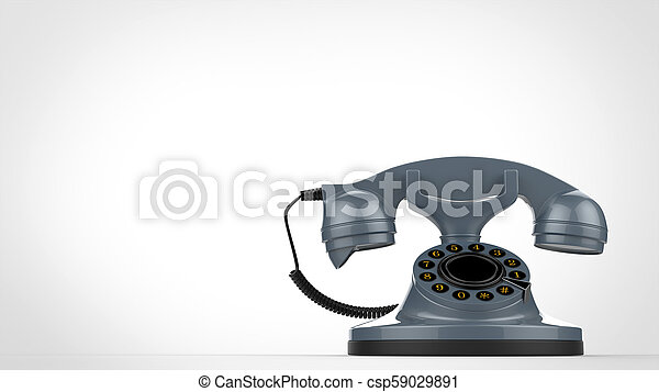 Cool retro blue vintage telephone - 3D Illustration - csp59029891