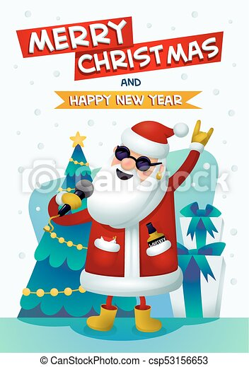 Christmas Singin.Cool Rock Star Santa Singing Santa Claus With Merry Christmas And Happy New Year Inscription Christmas Tree And Presents On Background Christmas