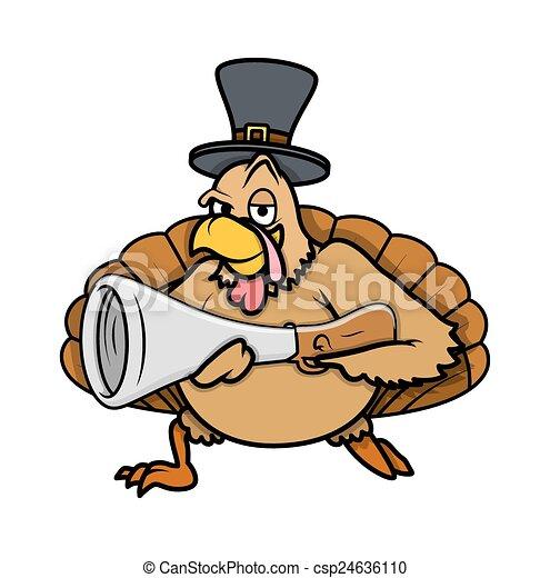 Cool Turkey Bird with Gun and Hat - csp24636110