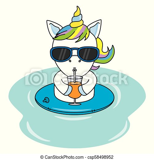cool unicorn with sunglasses and drinking a juice - csp58498952